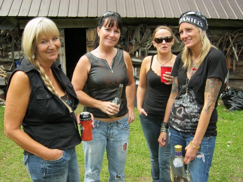 Four biker women
