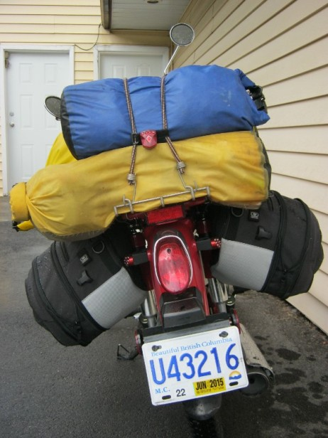 Symba loaded with dry bags, rear view