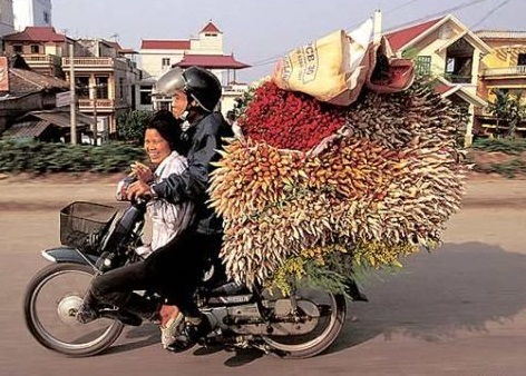 Man, woman, on Honda Cub with and huge cargo in Asian country