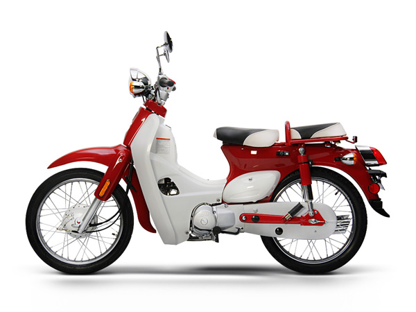 Red and while Symba motorbike, side view